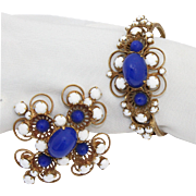 Vintage Juliana (D and E) NEW FIND Blue High Domed Cabochon Clamper Bracelet and Maltese Cross Brooch Demi Parure