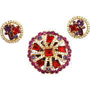 Vintage Juliana (D and E) Red, Fuchsia Pink and  Purple Rhinestone Brooch and Earrings Demi Parure