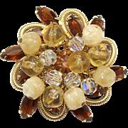 Vintage Juliana (D&E) Crystal & Bumpy Bead & Topaz Rhinestone Brooch