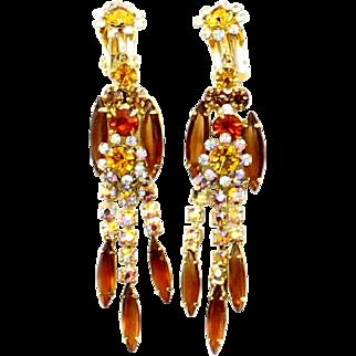 Vintage Juliana Book Piece Topaz and AB Rhinestone Owl Dangle Earrings