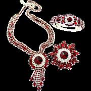 Vintage Juliana Red Rivoli Rhinestone Necklace Clamper Bracelet Brooch Parure