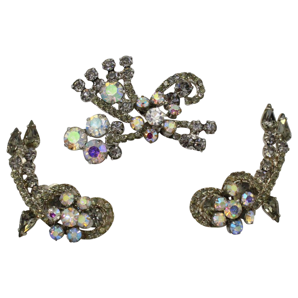 Vintage Juliana (D and E) Gray and AB Rhinestone Brooch and Earrings Demi Parure