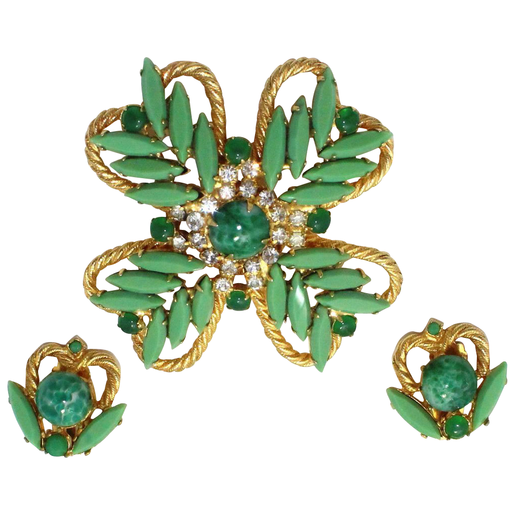 Vintage Juliana (D&E) Book Piece Maltese Cross Jade Glass & Rhinestone Demi Parure