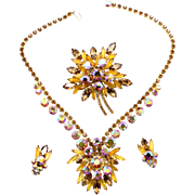 Vintage Juliana Topaz AB Navette Rhinestone Leaf Shaped Brooch, Earrings Necklace Parure