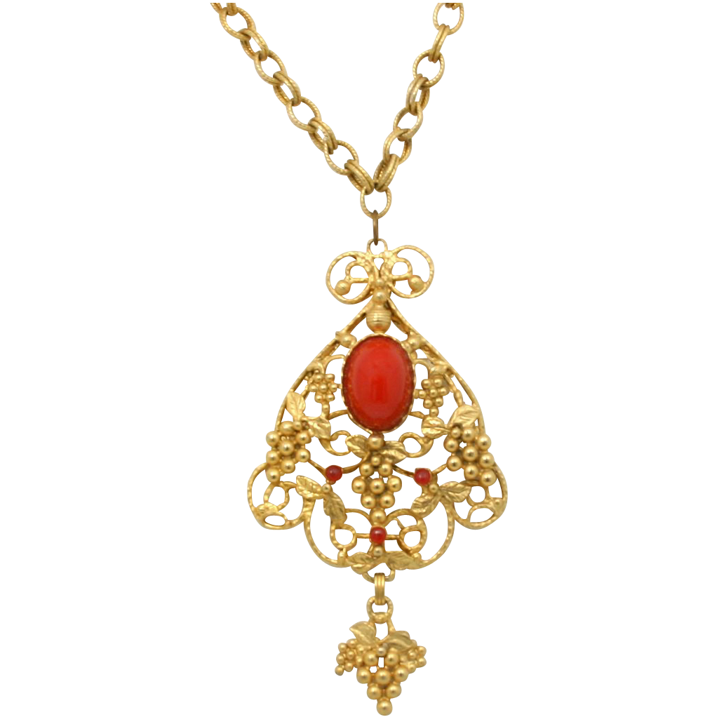 Vintage Juliana (D&E) Book Piece Red High Dome Cabochon Grape Pendant Necklace