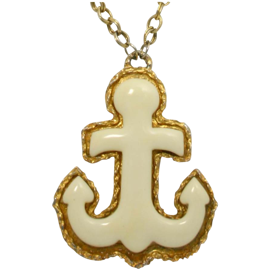 Huge Vintage Juliana (D&E) Book Piece Cream Plastic Anchor Pendant Necklace