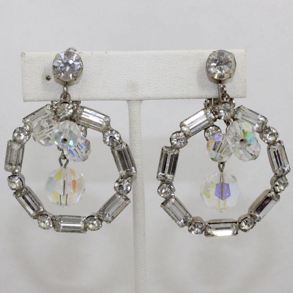 Vintage Juliana (D&E) Large Clear Rhinestone Hoop & AB Crystal Bead Earrings