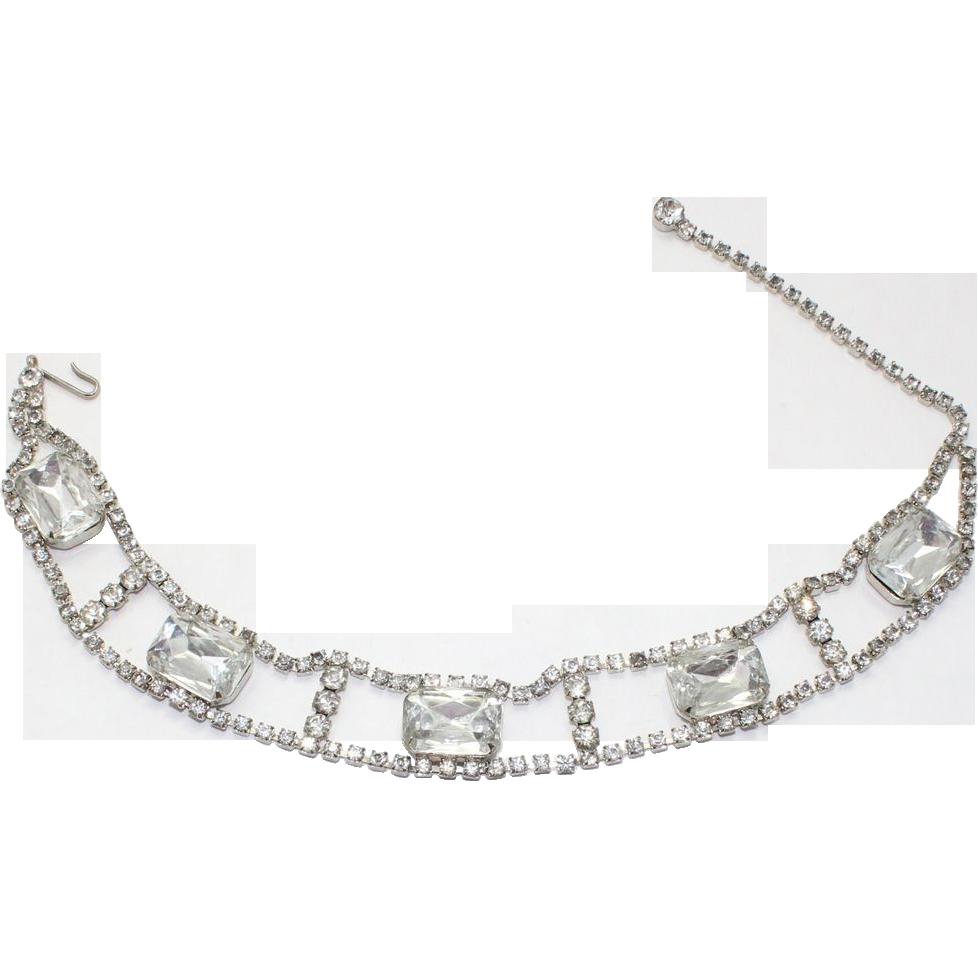 Vintage Juliana (D&E) Clear Emerald Cut Rhinestone Dog Collar Necklace