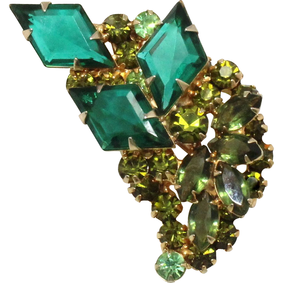 Vintage Juliana (D&E) Green & Olivine Diamond Shaped Rhinestone Brooch