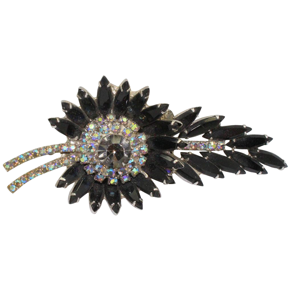 Vintage Juliana (D&E) Book Piece Black AB Rhinestone Sunburst Brooch