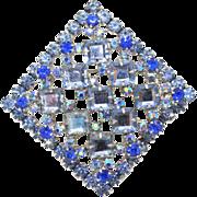 Vintage Juliana Book Piece Blue Square Rhinestone Pendant / Brooch