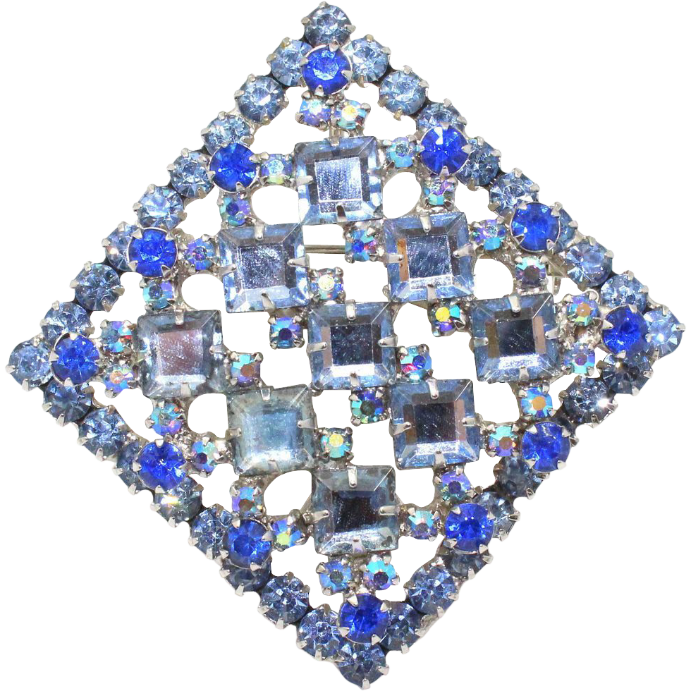 Vintage Juliana Book Piece Blue Square Rhinestone Pendant / Brooch