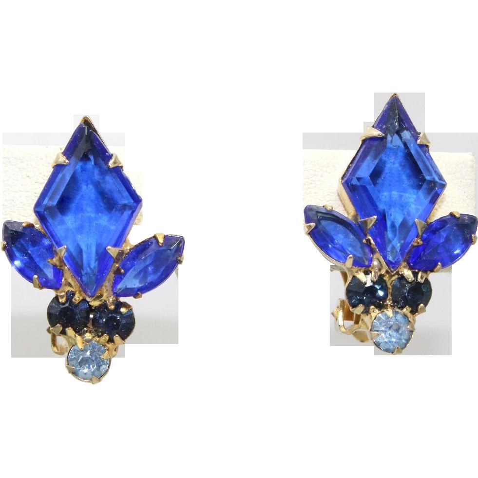 Vintage Juliana (D&E) Bright Blue Diamond Rhinestone Earrings