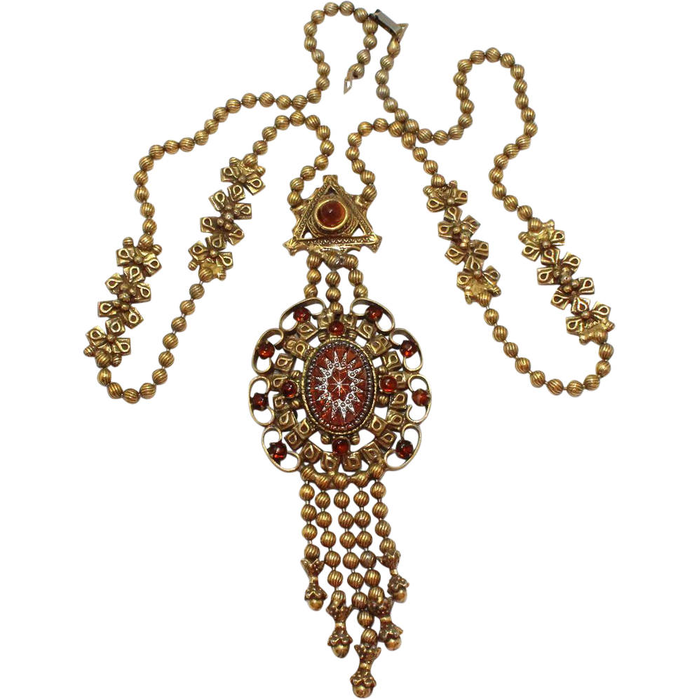 Vintage Juliana (D&E) Book Piece Ball Chain & Topaz Cut Starburst & Rhinestone Necklace