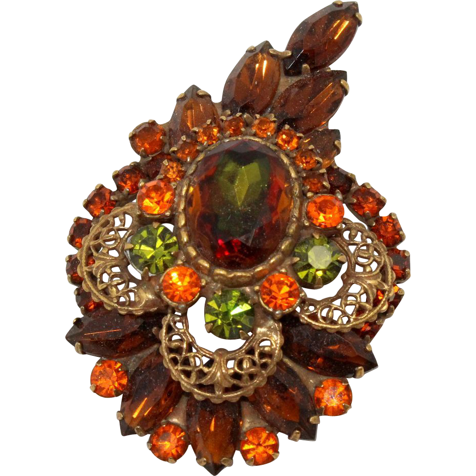 Vintage Juliana (D&E) Book Piece Fall Colored Watermelon Rhinestone Brooch
