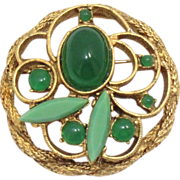 Vintage Juliana (D&E) Jade Glass Cabochon Brooch