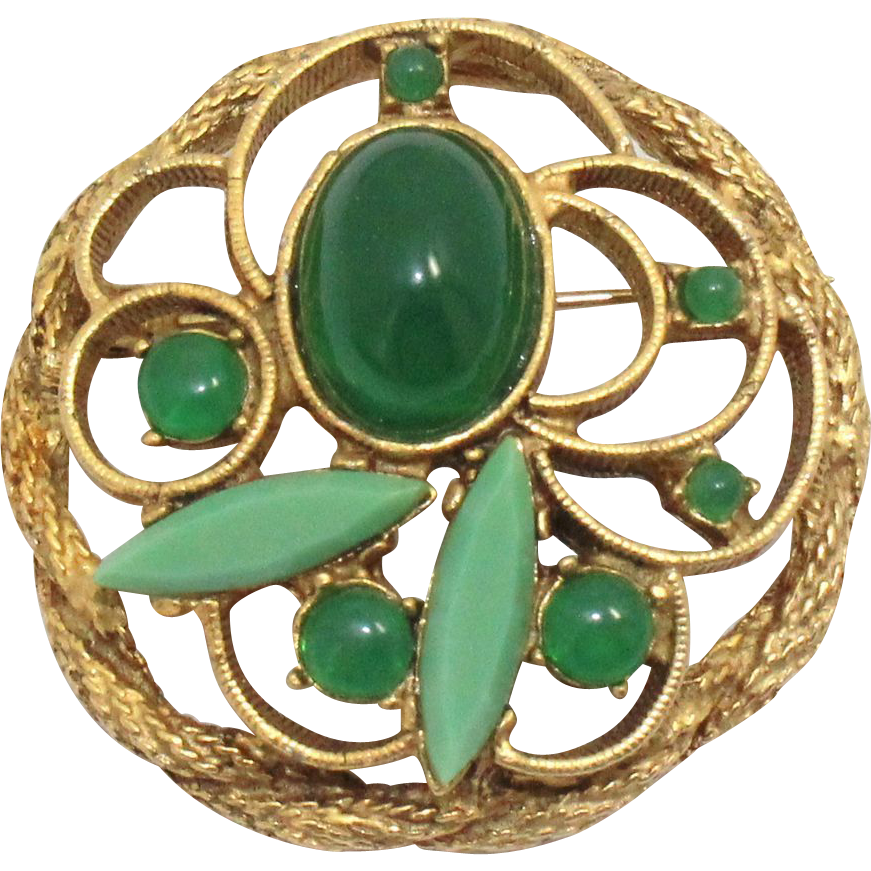 Vintage Juliana (D&E) Jade Glass Cabochon Brooch