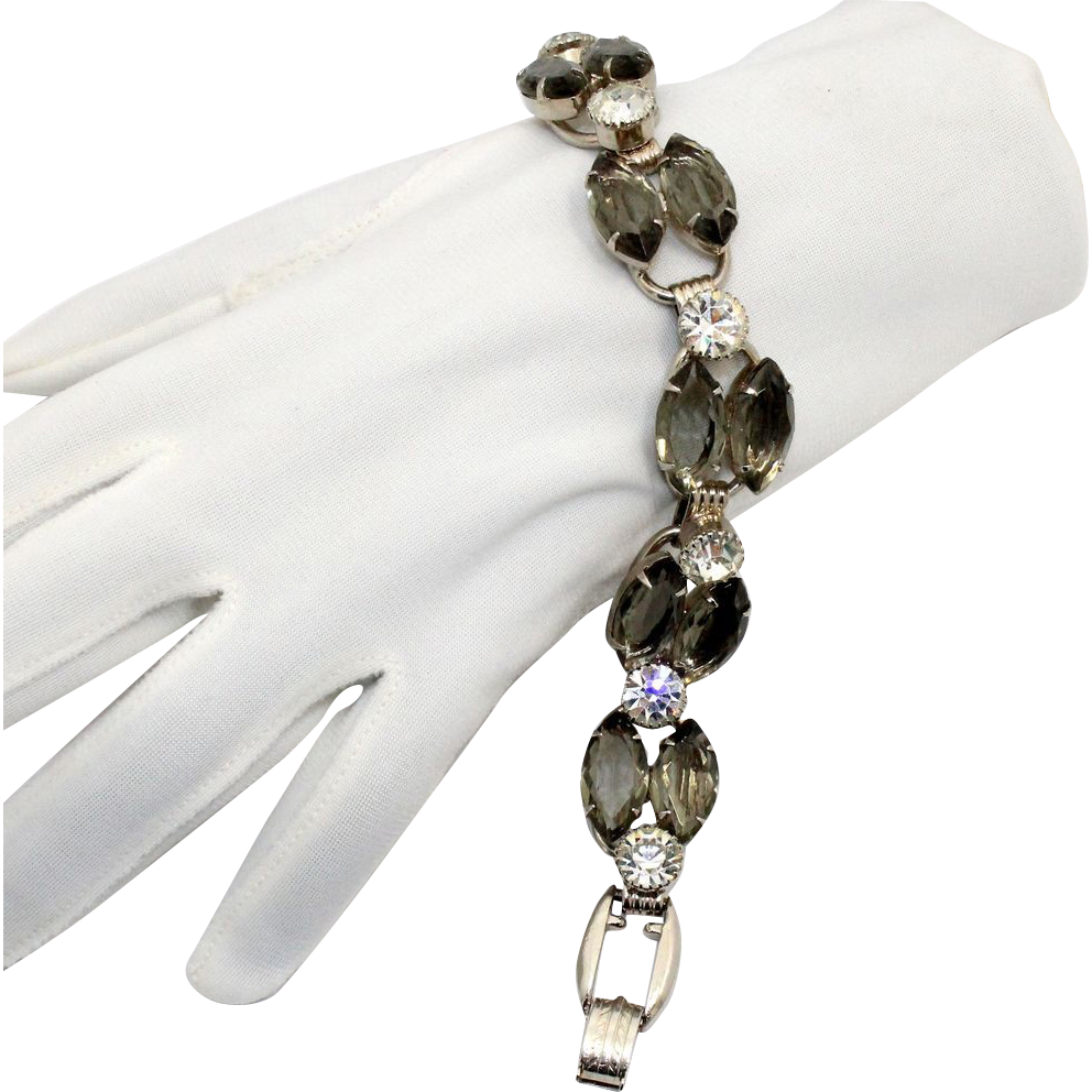Vintage Juliana (D&E) Gray & Clear Rhinestone Bracelet