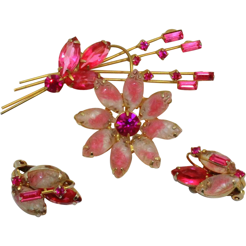 Vintage Juliana (D and E) Molded Pink and White Givre Rhinestone Flower Brooch and Earrings Demi Parure