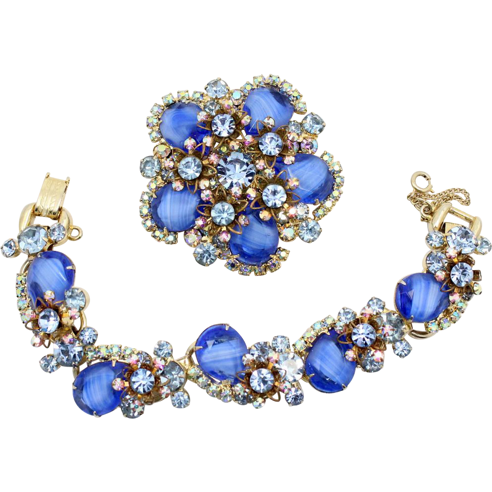 Vintage Juliana (D and E) Blue Givre Rhinestone and  Filigree Metal Flower Bracelet and Brooch Demi Parure