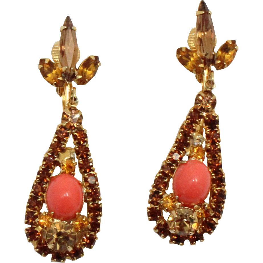 Vintage Juliana (D&E) Coral Glass Cabochon & Topaz Rhinestone Dangle Earrings