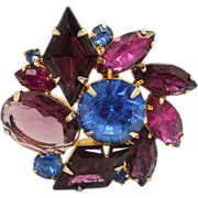 Vintage Juliana (D&E) Amethyst, Blue & Fuchsia Diamond Shaped Rhinestone Brooch