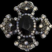 Vintage Juliana (D&E) Book Piece Black Rhinestone & Glass Opal Maltese Cross Brooch