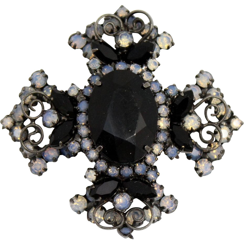 Vintage Juliana (D&E) Book Piece Black Rhinestone & Glass Opal Maltese Cross Brooch