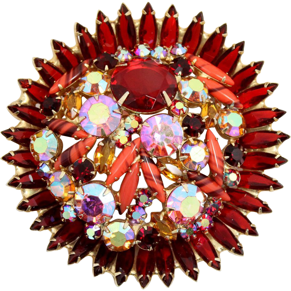 Vintage Juliana (D&E) Huge Red & Orange Fluss Rhinestone Brooch