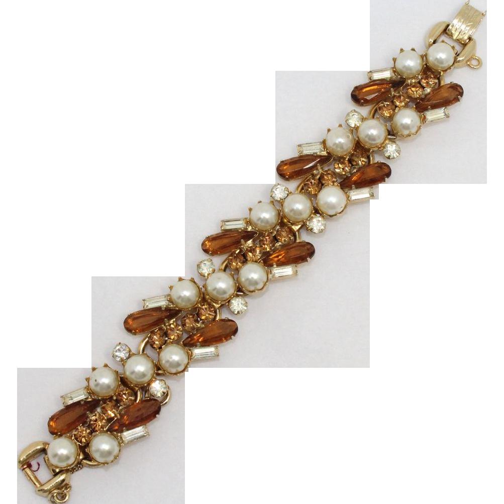 Vintage Juliana (D&E) Topaz & Clear Rhinestone & Faux Pearl Bracelet