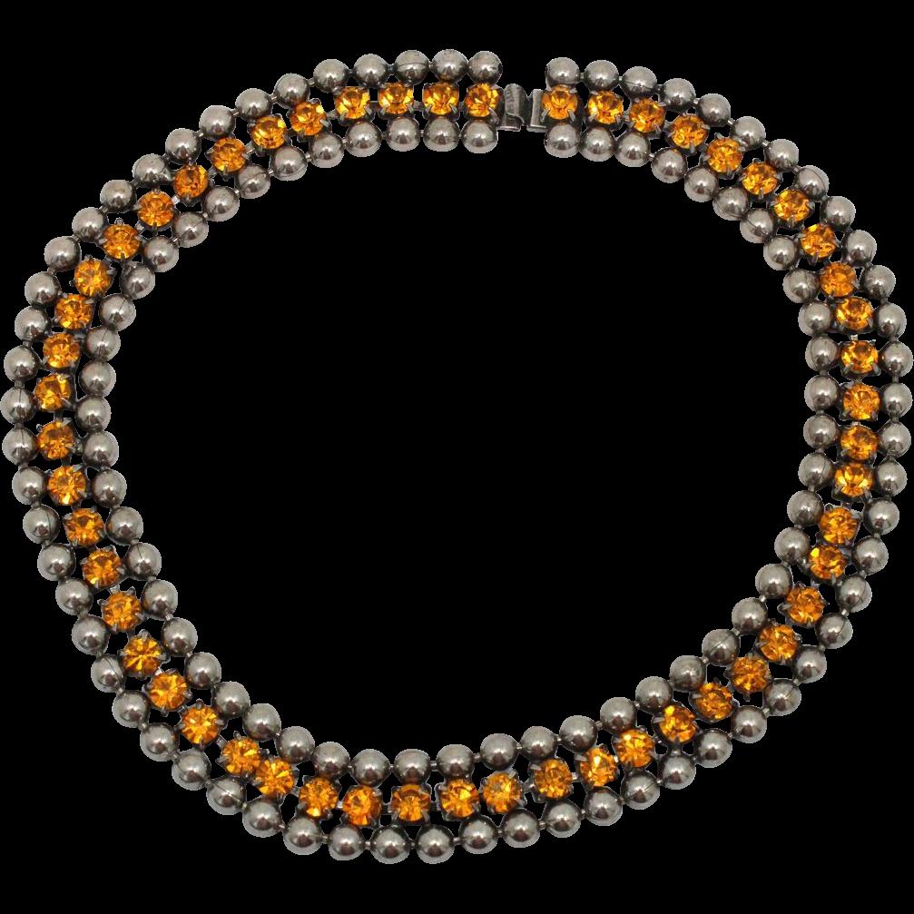 Vintage Juliana Ball Chain Topaz Rhinestone Necklace