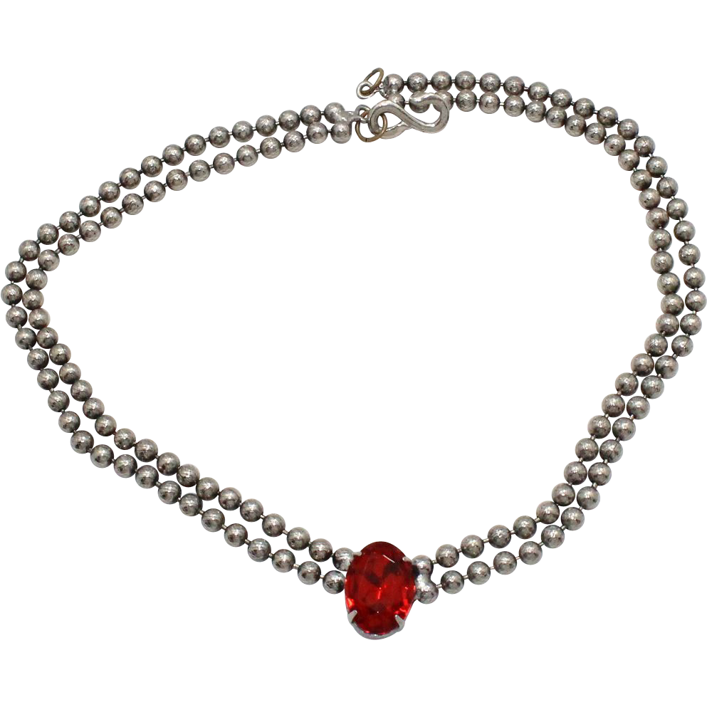 Vintage Juliana (D and E) Ball Chain and Red Rhinestone Necklace