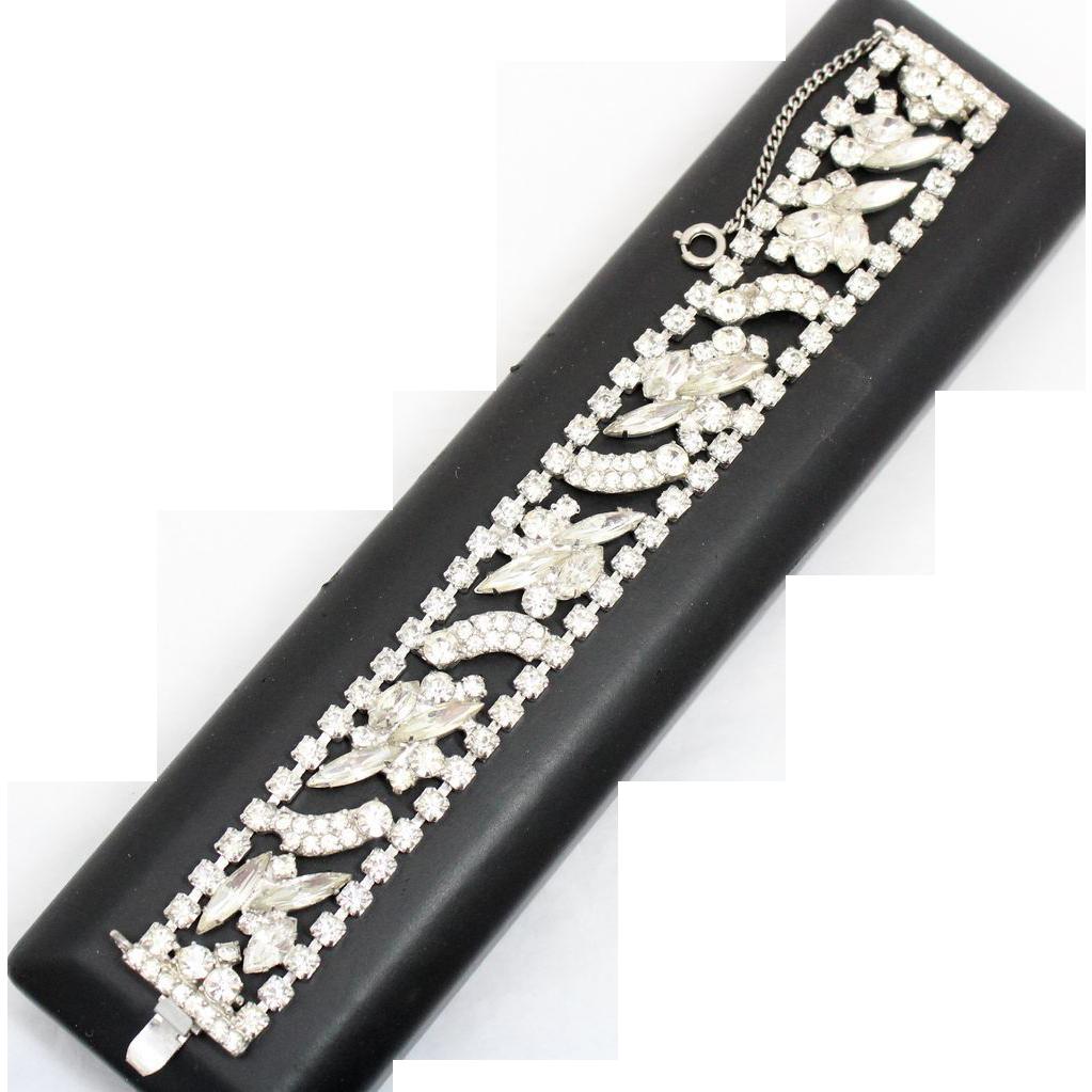 Vintage Juliana (D&E) Clear Rhinestone Flat Bracelet