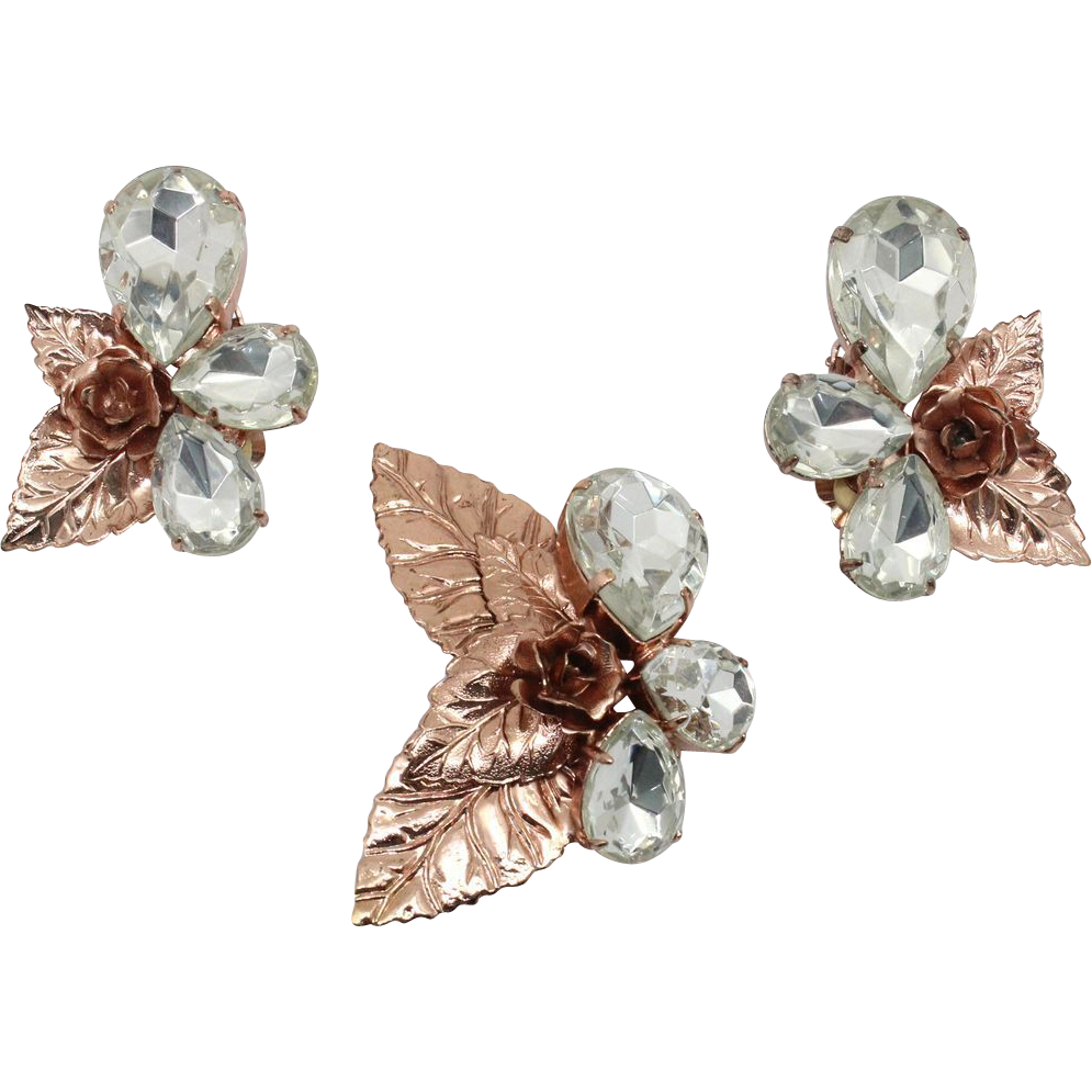 Vintage Juliana NEW FIND Metal Rose Flower Leaf Brooch Earrings Clear Rhinestone Demi Parure