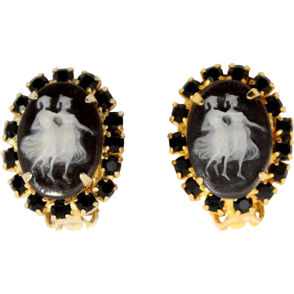 Vintage Juliana (D&E) Book Piece Black Two Maidens Cameo Earrings