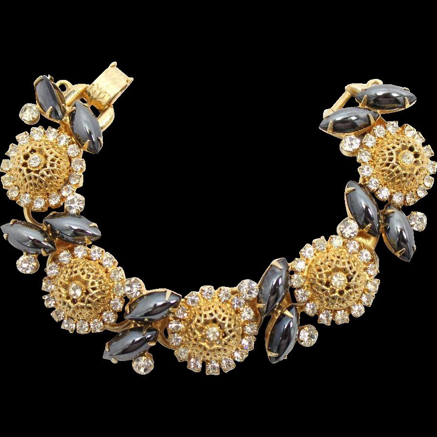 Vintage Juliana (D&E) Book Piece Hematite Rhinestone & Filigree Ball Bracelet