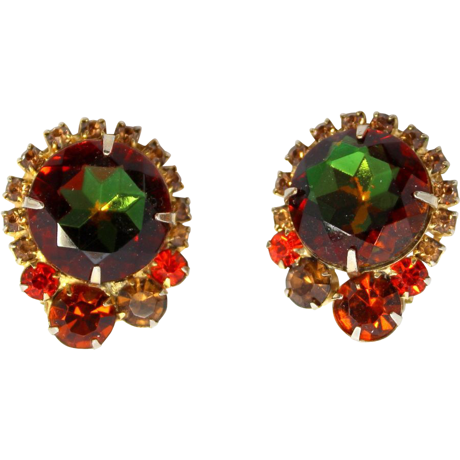 Vintage Juliana (D&E) Fall Colored Watermelon Rhinestone Earrings