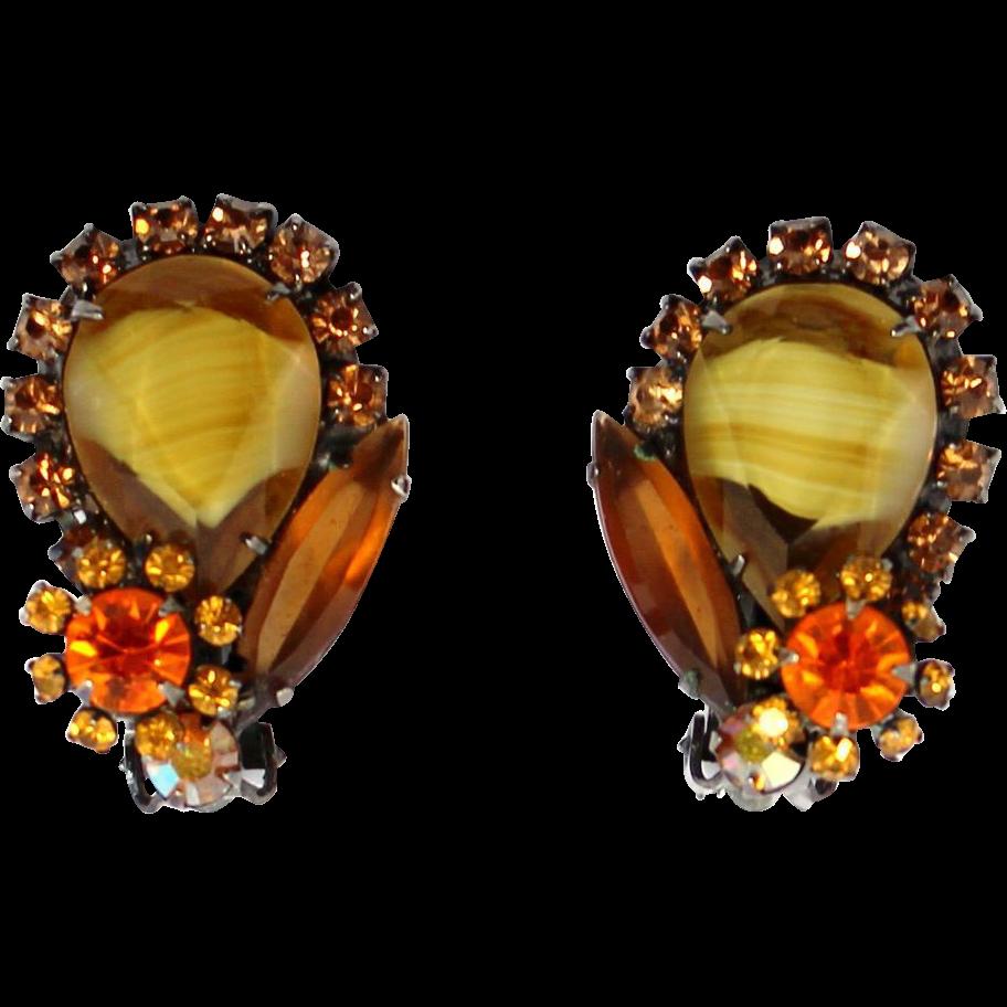 Vintage Juliana (D&E) Book Piece Topaz Givre Rhinestone Earrings