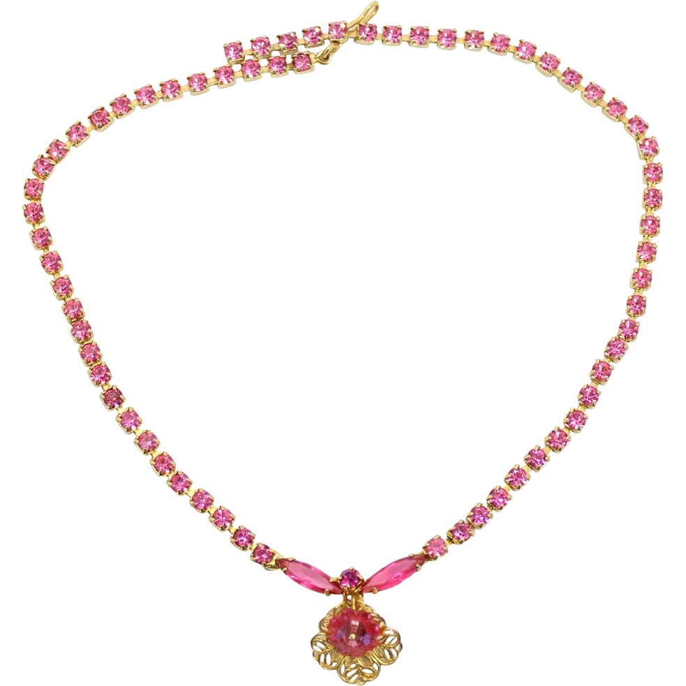 Vintage Juliana (D&E) Pink Margarita Rhinestone Filigree Flower Necklace