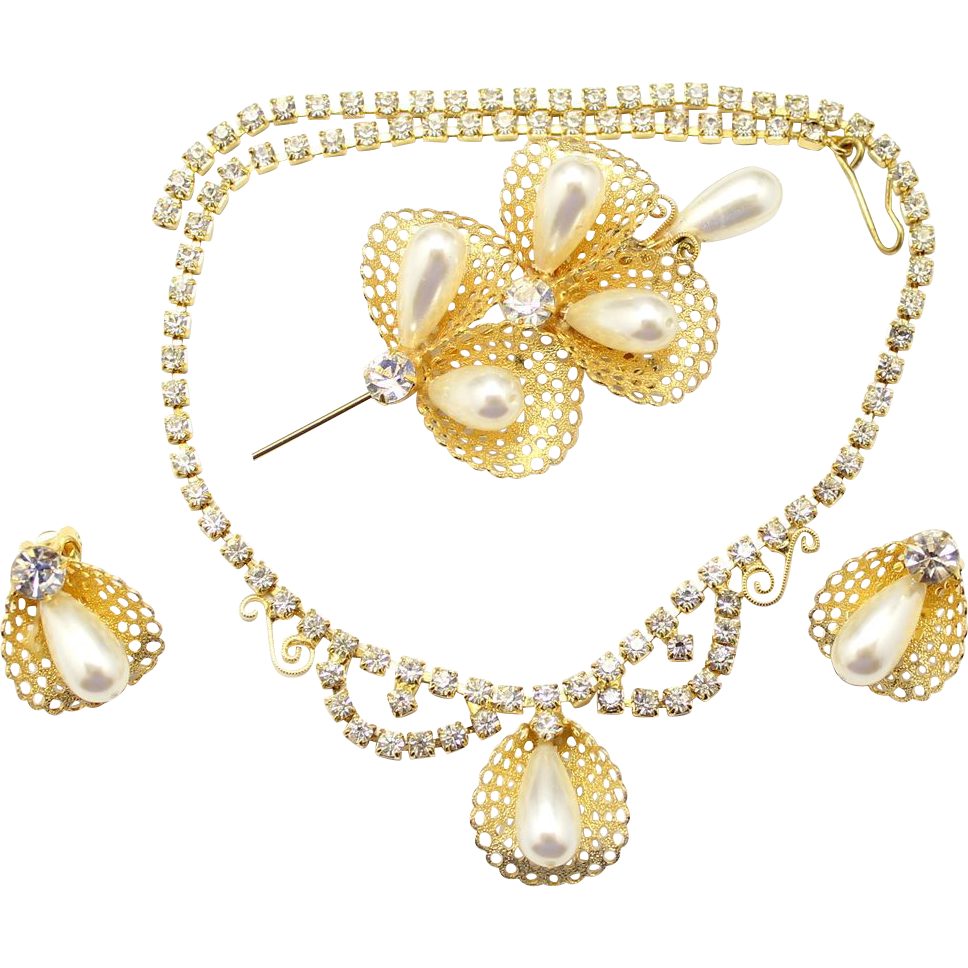 Vintage Faux Pearl Filigree Necklace, Brooch and Earrings Parure