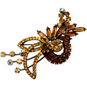Vintage Juliana (D&E) Book Piece Topaz Rhinestone Swirling Brooch