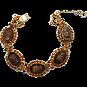 Vintage Juliana (D&E) Book Piece Dark Topaz Cameo Rhinestone Bracelet