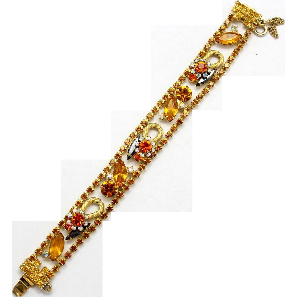 Vintage Juliana (D&E)Topaz & Hematite Rhinestone Twisted Rope Flower Bracelet