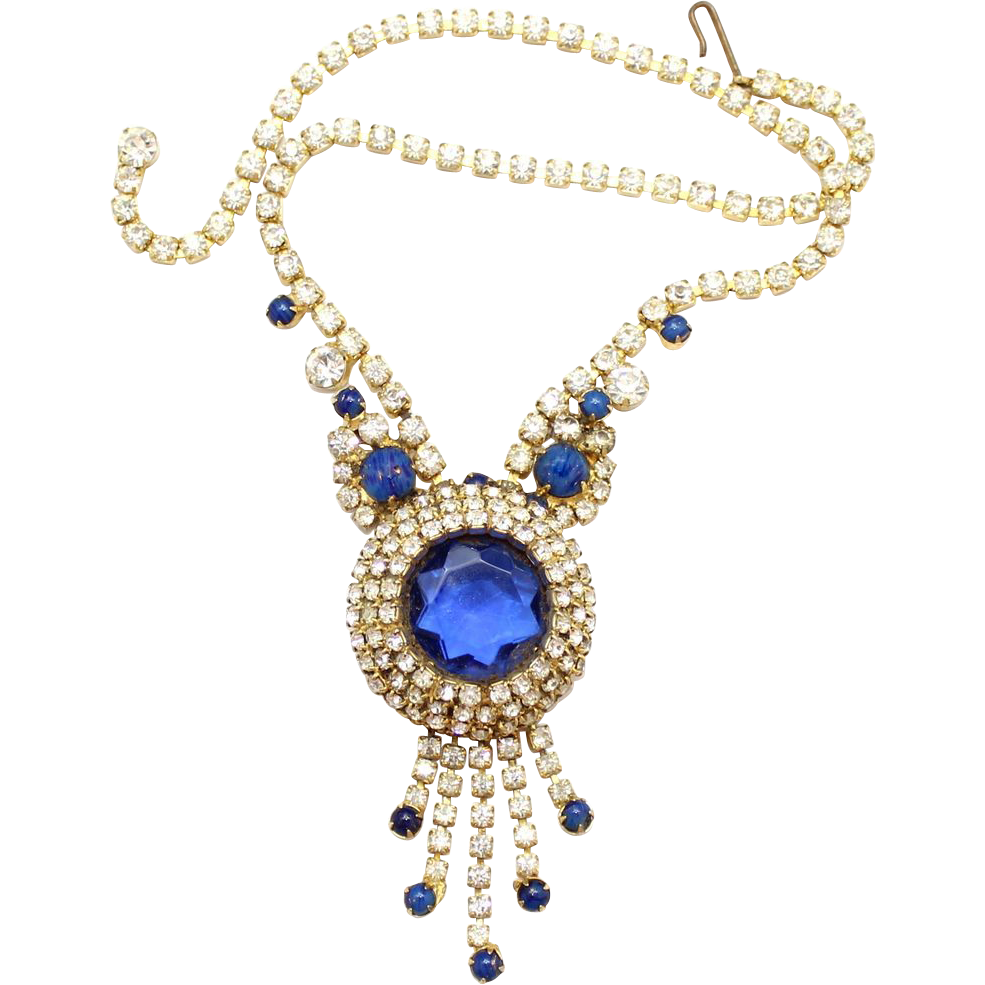 Vintage Juliana (D&E) Book Piece Blue Dentelle & Faux Lapis Rhinestone Necklace
