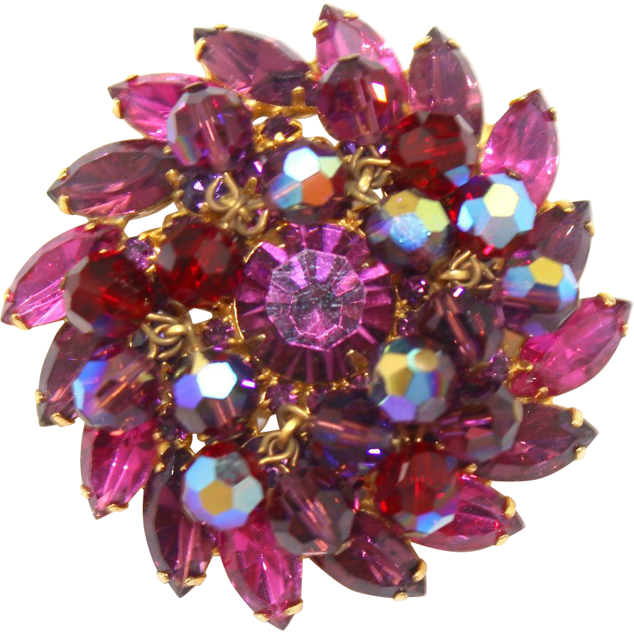 Vintage Juliana (D&E) Book Piece Amethyst, Red, Fuchsia Rhinestone & Crystal Bead Brooch