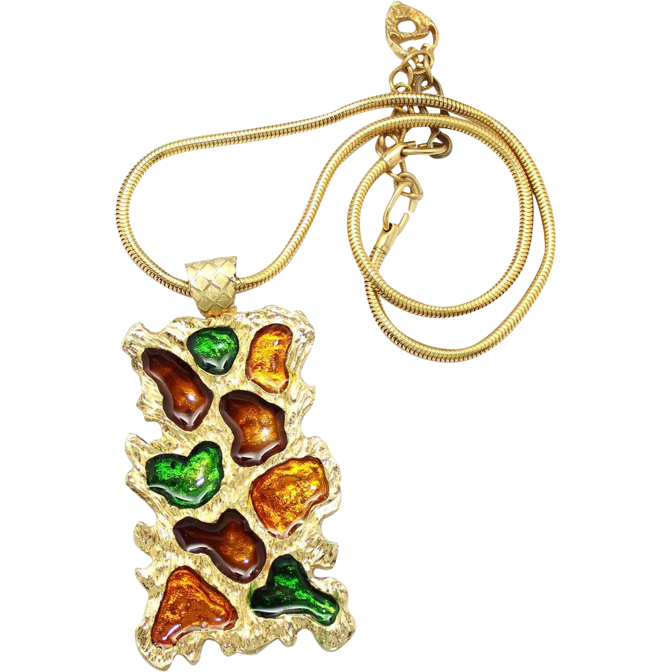 Vintage Juliana (D&E) NEW FIND Brown, Amber, & Green Stained Glass Style Pendant Necklace