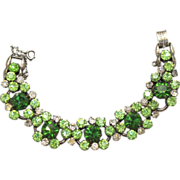 Vintage Juliana Green, Peridot and Clear Rhinestone Bracelet