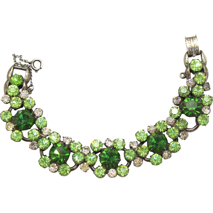 Vintage Juliana (D&E) Green, Peridot and Clear Rhinestone Bracelet