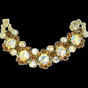 Vintage Juliana (D&E) Topaz & Headlight AB Rhinestone Bracelet