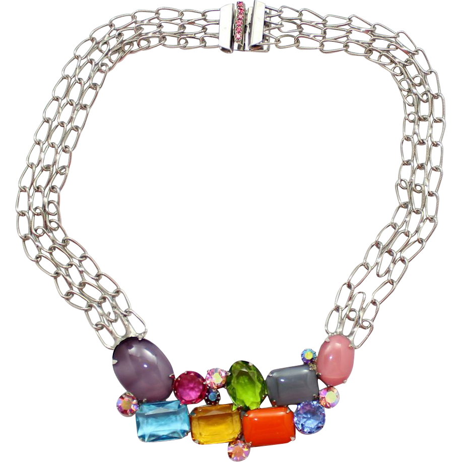 Vintage Juliana Colorful Rhinestone Chain Necklace